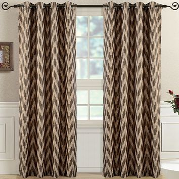Mocha Pair (Two Panels ) Lisette Chevron Top Grommet Window Curtain Panels