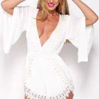 Wishing Well Playsuit White
