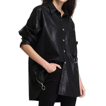 Jacket Women's Washed PU Leather Jacket Fashion Turn-down Collar Button Coats Casual Jacket