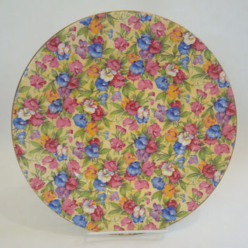 "Vintage Royal Winton China SWEET PEA Chintz 10"" Round Dinner Plate"