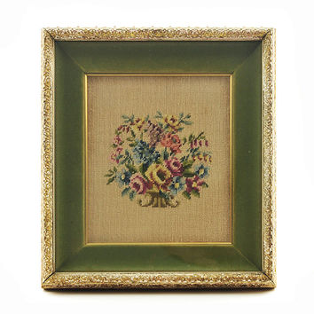 Vintage Framed Needlepoint in Vintage Shadowbox Frame Floral Handmade Wall Art Bouquet of Flowers Green Carved Wood Frame