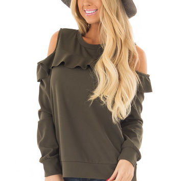 Olive Cold Shoulder Top with Ruffle Detail