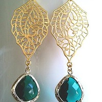 Emerald Green 16k gold plated Earrings