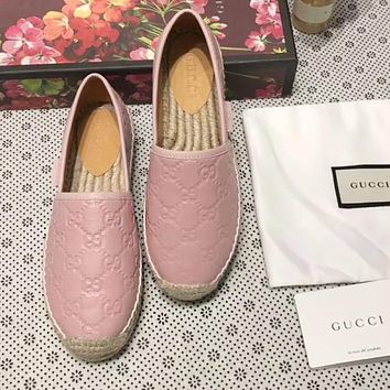 GUCCI Trending Women Stylish Slip-On Leather Flat Shoes Single Shoe Fisherman Shoes(4-Color) Pink I-ALS-XZ