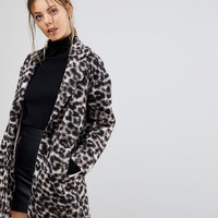 Esprit Leopard Print Coat at asos.com