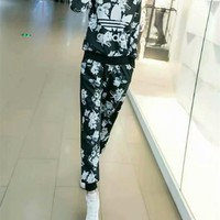 """Adidas"" Fashion Casual Multicolor Petal Letter Print Long Sleeve Sweater Set Two-Piece Sportswear"