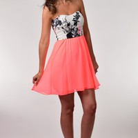 Style Rack Neon Coral Strapless Dress with Black Floral Bodice