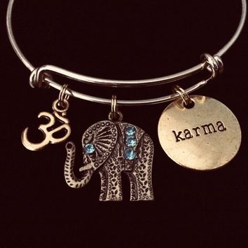 Elephant OM Karma Gold Adjustable Bracelet Expandable Wire Bracelet Bangle Gift Stacking Trendy Jewelry