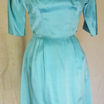 Vintage 1950s Satin Wiggle Cocktail Dress With Bow