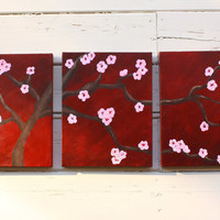 Cherry Blossom Painting Original Three 11x14 by BohemianHabits