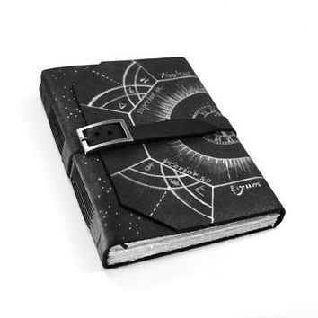 Alchemy Black Leather Journal - Handmade Diary - Handbound Journal, Black Book