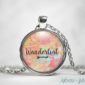 Wanderlust Necklace, Pendant, Traveling, Atlas, Explore, Glass Photo Jewelry