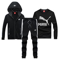 Puma Fashion Casual Cardigan Jacket Coat Top Sweater Pants Trousers Set Three-Piece