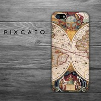 The World - Vintage Map - Map 05 - Iphone 4/4S Case - 3D Iphone Case - Hard Plastic Case