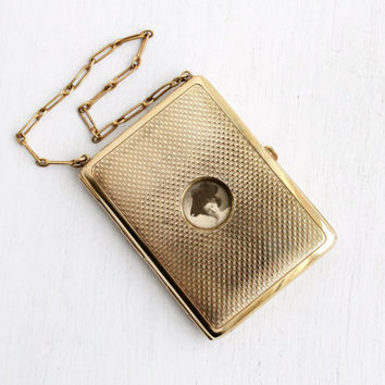 Antique Brass Coin Purse - Edwardian Small Dance Wallet Purse with Coin Slots & Compact Compartments with Photo of Woman in Hat