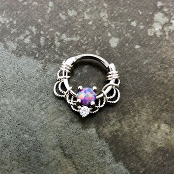 16G, 16 gauge Silver Wire wrapped Septum Clicker Opal Ring, Tribal Septum Ring Daith Hoop