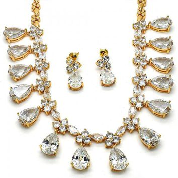 Gold Layered Necklace and Earring, Teardrop Design, with Cubic Zirconia, Gold Tone