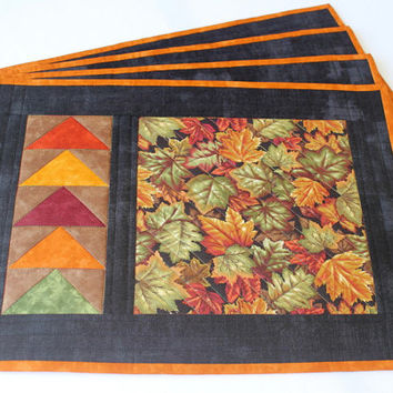Fall Placemats - Quilted Placemats - Autumn Table Mats - Maple Leaves - Thanksgiving - Set of 4 Placemats