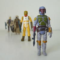 Star Wars Action Figures, 70s / 80s Kenner, Boba Fett and More, Set of 4 - sci fi, collectible, alien, monster, for him, retro, dude gift