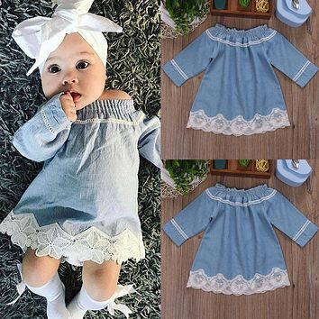 US Stock Newborn Kid Baby Girls Lace Off Shoulder Denim Dress Party Princess wea