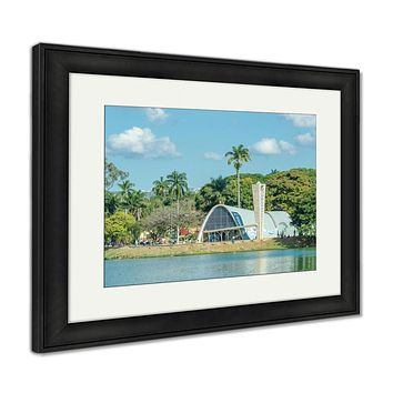 Framed Print, Concept For Travel Subject Minas Gerais Brazil Yellow Sign