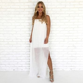 Bamboo Maxi Dress in White