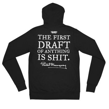 Hemingway First Draft Quote Tri-Blend Zip Hoodie Sweatshirt