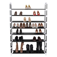 SONGMICS 8 Tiers Shoe Tower Rack Shoe Storage Organizer Space Saving Shoe Cabinet Black ULSH88H