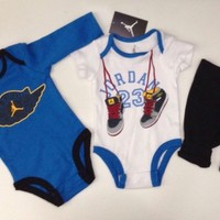 Air JORDAN BOYS Baby Boy 3-Pcs GIFT Set: 2 Rompers & Pants ALL Sizes. BLUE/WHITE