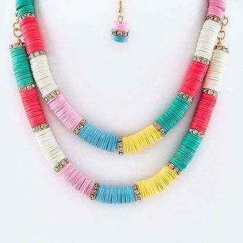 EXUMA DOUBLE LAYER NECKLACE - MULTI + CRYSTAL