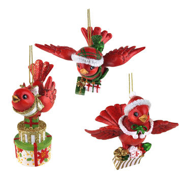 Flying Cardinal Bird Christmas Ornaments, Red, 3-1/2-Inch, 3-Piece