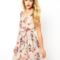 ASOS Skater In Floral Print With Ruffle Wrap - Print