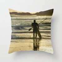 Paddle Surfer at Langland Throw Pillow by Becky Dix | Society6