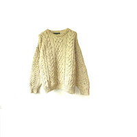 vintage chunky aran jumper. medium , cream flex knit . etsy uk