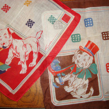 Vintage Artist Tom Lamb signed  Group of 2 Handkerchiefs Dog Themed