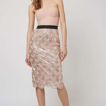 **Scallop Sequin Bustier Midi Dress by Rare - Dresses - Clothing