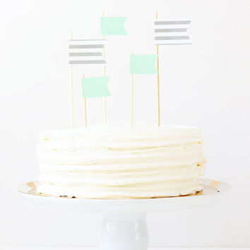 Cake Topper Mint Green and Grey Flag Topper Stripe Pennants Party Supplies Wedding Cake Decorations Gender Neutral Baby Shower / Set of 5