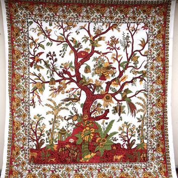 White Tree of life tapestry, cotton indian wall hanging hippie tapestry bedding throw tree of life bedspread bed cover ethnic decor