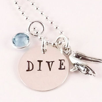 Sterling Silver DIVE Charm Necklace, Diver Necklace with Sterling Silver Diver Charm and Swarovski Crystal Birthstone