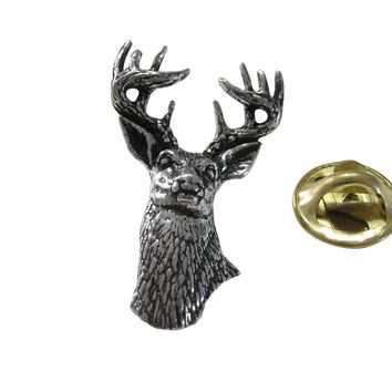 White Tailed Stag Deer Head Lapel Pin
