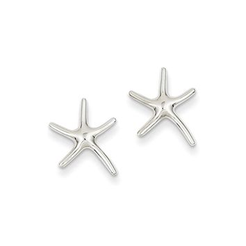 13mm Polished Pencil Starfish Post Earrings in 14k White Gold