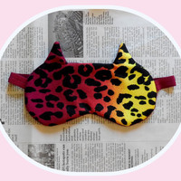 Cat Sleep Mask - Rainbow Leopard Spots - Dark Comfortable Stripes - Cute Ears Eye Cover - Women Teen Girl - Pink Orange Yellow Maroon Purple
