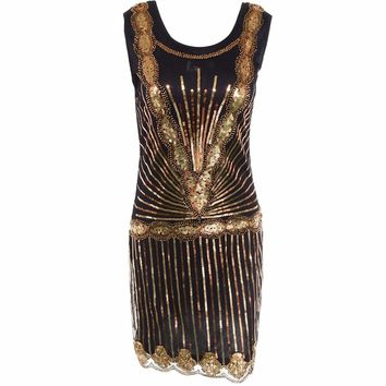 Women Vintage Inspired Shining Black Gold 1920s Beading Sequin Art Gatsby Flapper Dress Sleeveless Holiday Party Dress