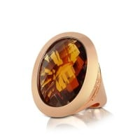 Rebecca Designer Rings Tropezienne - Large Oval Amber Hydrothermal Stone Ring