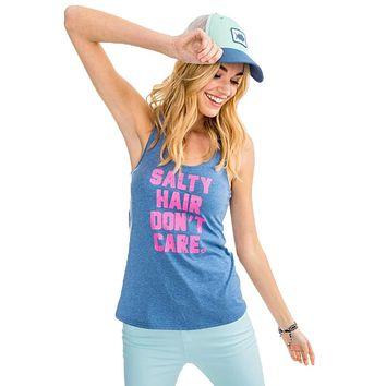 Salty Hair Don't Care Graphic Tank in Medium Blue by Southern Tide