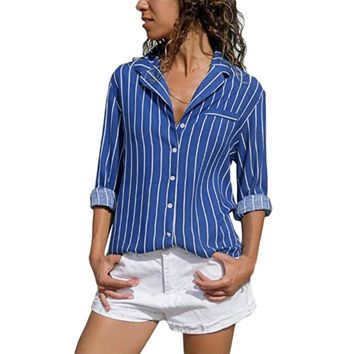 Women Blue Vertical Striped Shirt Autumn Long Sleeve Buttons Casual Blouse Lapel Slim Fashion Tops #BF
