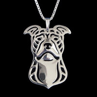 American Pit Bull Silver Plated Necklace - Proceeds Go to Pit Bull Rescue