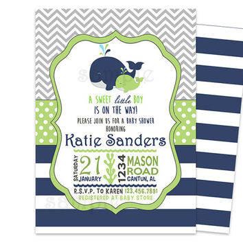 Lime Navy Whale Baby Shower Invitation - Nautical Chevron Ahoy Baby Shower Invites - boy baby shower - baby shower invite - ocean Its a boy