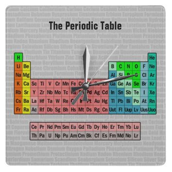 The Periodic Table (Simplified) Wall Clock from Zazzle.com