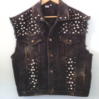 Mens / Guys / Punk Jacket Vest / Black / Rock N Roll / Punk Rock / Thrash / Grunge / Sleaze / 70s / 80s / 90s / Street Style